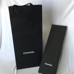 CHANEL Necktie Box with Shopping Tote Bag 15x5x1
